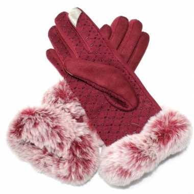Goedkope nep bonten handschoenen s/m rood voor dames