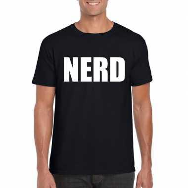 Goedkope nerd fun t-shirt zwart voor heren