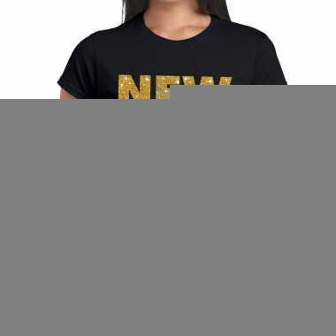 Goedkope new york gouden letters fun t shirt zwart voor dames
