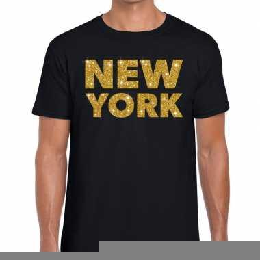 Goedkope new york gouden letters fun t shirt zwart voor heren