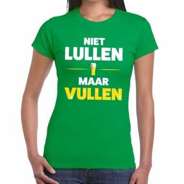 Goedkope niet lullen maar vullen fun t shirt groen voor dames