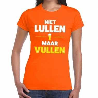 Goedkope niet lullen maar vullen fun t shirt oranje voor dames