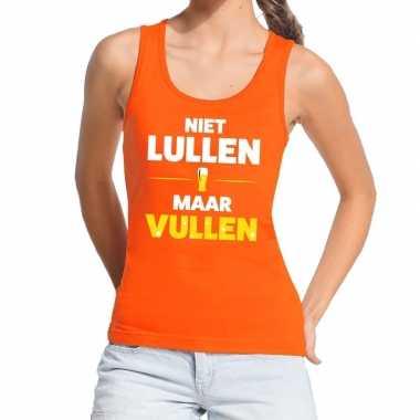 Goedkope niet lullen maar vullen fun tanktop / mouwloos shirt oranje