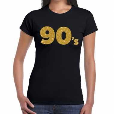 Goedkope ninetees goud fun t shirt zwart voor dames