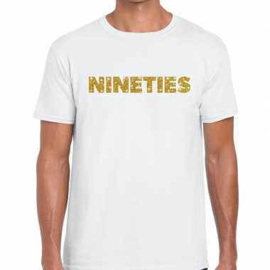 Goedkope nineties goud tekst fun t shirt wit voor heren