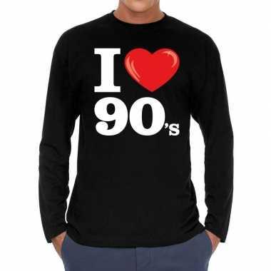Goedkope nineties long sleeve shirt met i love 90s bedrukking zwart v