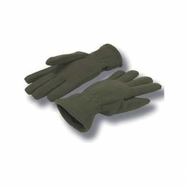 Goedkope olijf kleurige handschoenen fleece voor dames/heren
