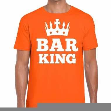 Goedkope oranje bar king t shirt met kroontje heren