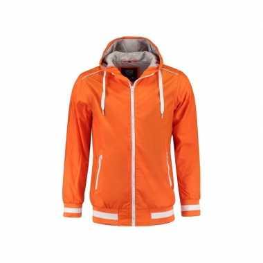 Goedkope oranje dames capuchon jasje nylon