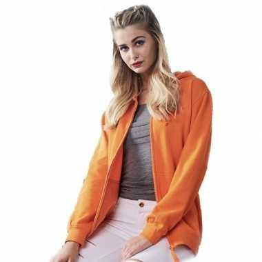 Goedkope oranje dames vesten/jasjes met met capuchon/hoodie