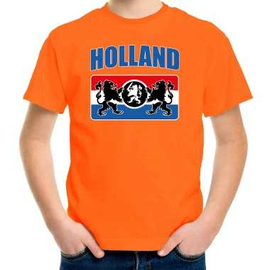 Goedkope oranje fan shirt / kleren holland met een nederlands wapen koningsdag / ek / wk voor kinderen