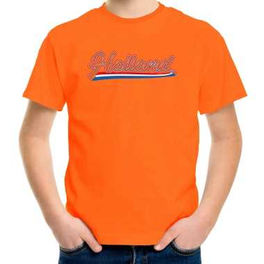 Goedkope oranje fan shirt / kleren holland met nederlandse wimpel koningsdag/ ek/ wk voor kinderen