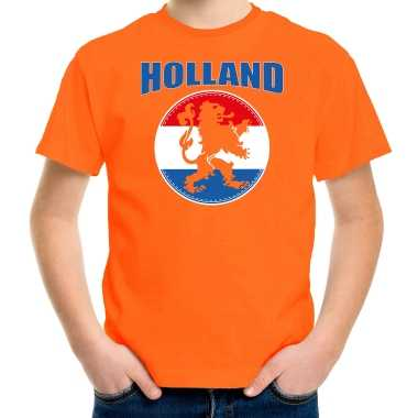 Goedkope oranje fan shirt / kleren holland met oranje leeuw koningsdag/ ek/ wk voor kinderen
