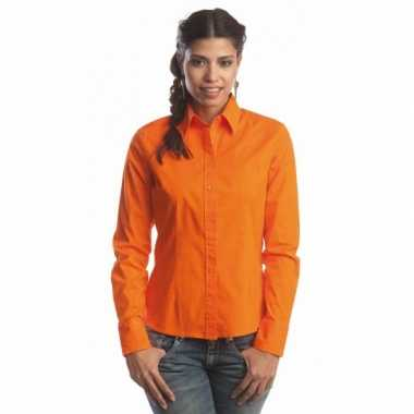 Goedkope oranje gekleurd dames overhemd met lange mouwen