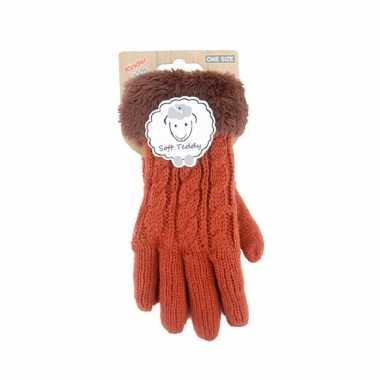 Goedkope oranje handschoenen gebreid teddy voor jongens/meisjes/kinderen