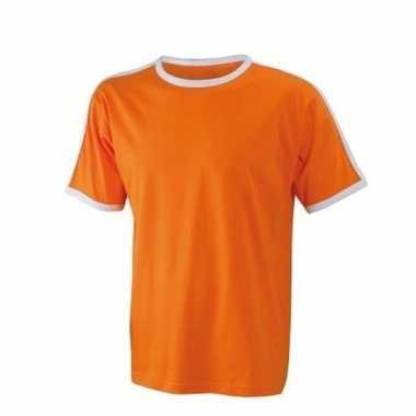 Goedkope oranje heren shirt met witte boorden
