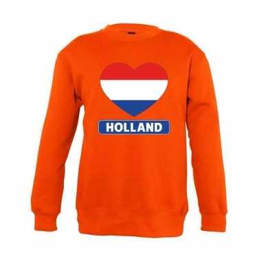 Goedkope oranje holland hart vlag trui jongens en meisjes