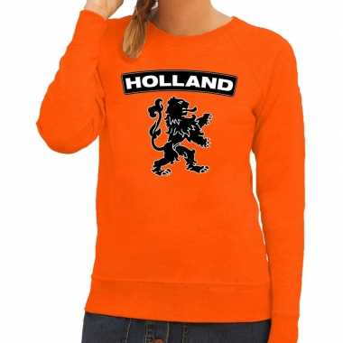 Goedkope oranje holland zwarte leeuw trui dames