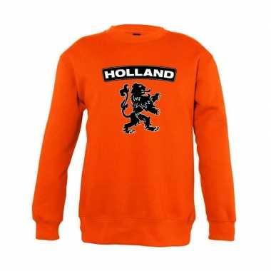 Goedkope oranje holland zwarte leeuw trui jongens en meisjes