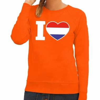 Goedkope oranje i love holland trui dames