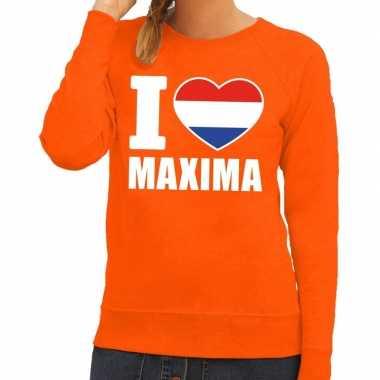 Goedkope oranje i love maxima trui dames