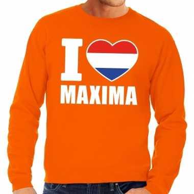 Goedkope oranje i love maxima trui heren en dames