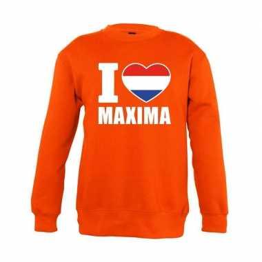 Goedkope oranje i love maxima trui jongens en meisjes