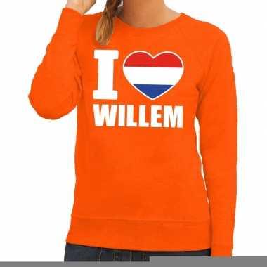 Goedkope oranje i love willem trui dames