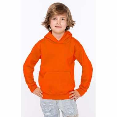 Goedkope oranje jongens truien/sweaters met hoodie/capuchon