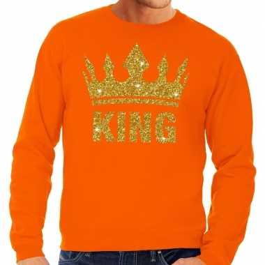 Goedkope oranje king gouden glitter kroon trui heren