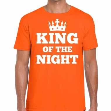 Goedkope oranje king of the night t shirt met kroontje heren