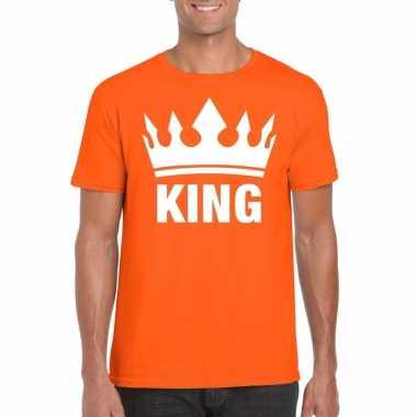 Goedkope oranje koningdag king shirt met kroon heren