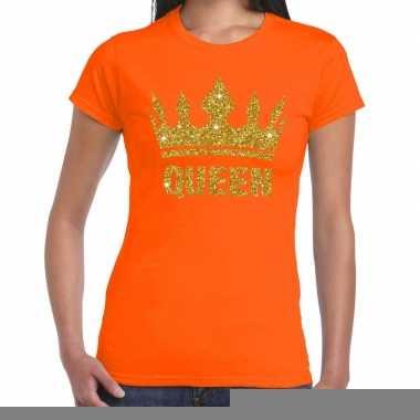 Goedkope oranje koningdag queen shirt met gouden glitters en kroon da