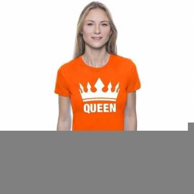 Goedkope oranje koningdag queen shirt met kroon dames