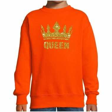 Goedkope oranje koningsdag gouden glitter queen trui kinderen