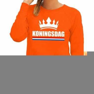 Goedkope oranje koningsdag met een kroon trui dames