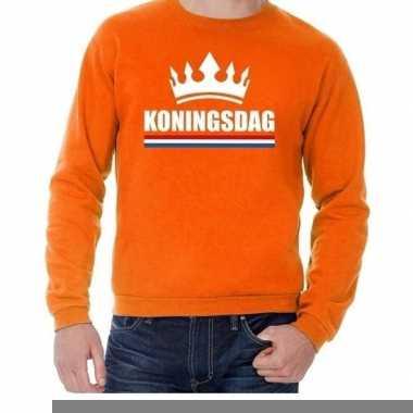 Goedkope oranje koningsdag met een kroon trui heren en dames