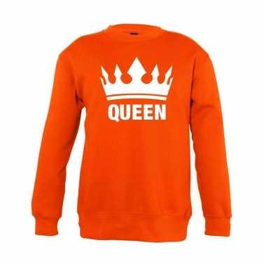 Goedkope oranje koningsdag queen trui jongens en meisjes