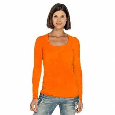 Goedkope oranje longsleeve shirt met ronde hals voor dames