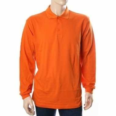 Goedkope oranje polo shirt lange mouwen