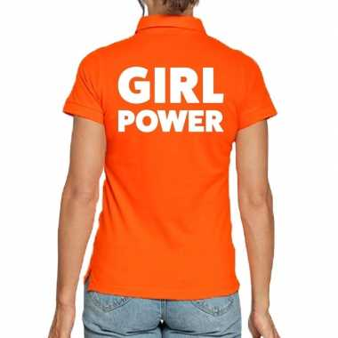 Goedkope oranje polo t shirt girl power voor dames