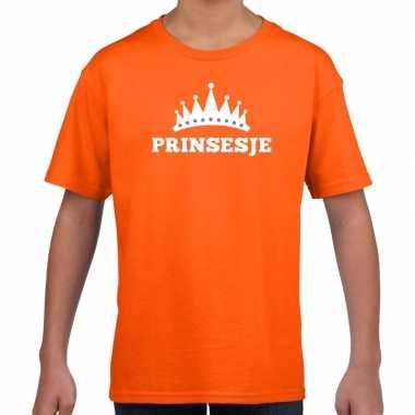 Goedkope oranje prinsesje met kroon t shirt meisjes