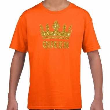 Goedkope oranje queen gouden glitter kroon t shirt kinderen