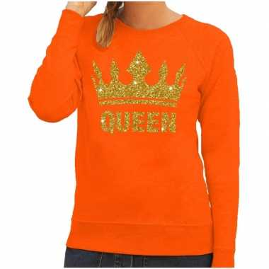 Goedkope oranje queen gouden glitter kroon trui dames