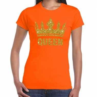 Goedkope oranje queen met gouden kroon t shirt dames