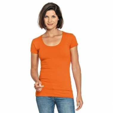 Goedkope oranje shirt met ronde hals voor dames