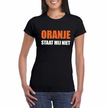 Goedkope oranje staat mij niet fun t shirt voor dames zwart