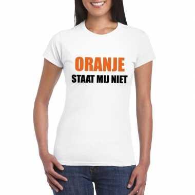 Goedkope oranje staat mij niet t shirt wit dames