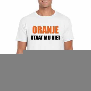 Goedkope oranje staat mij niet t shirt wit heren
