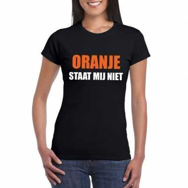 Goedkope oranje staat mij niet t shirt zwart dames